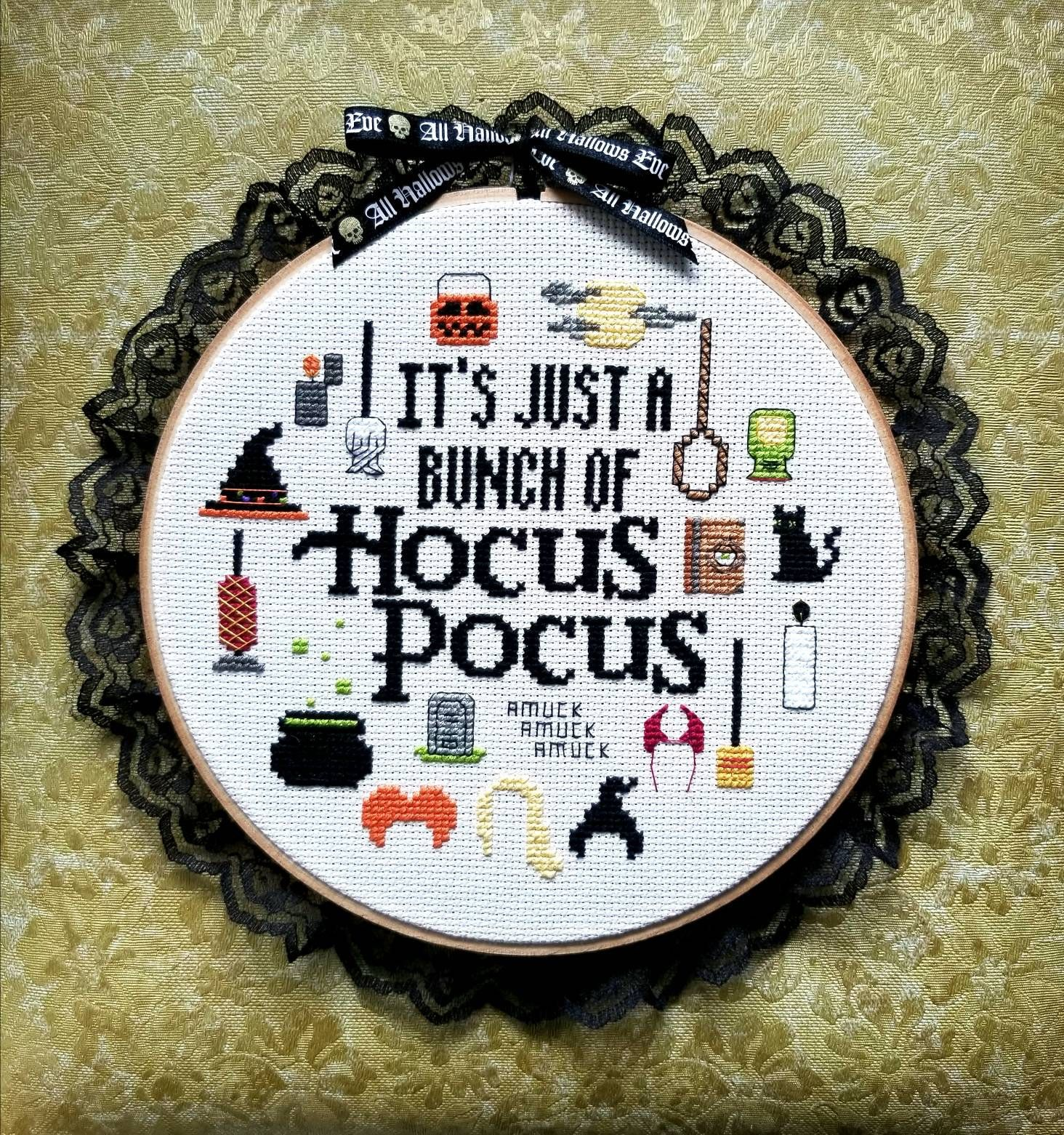 Photo of It's just a bunch of Hocus Pocus circle cross stitch pattern   PATTERN ONLY   PDF instant download