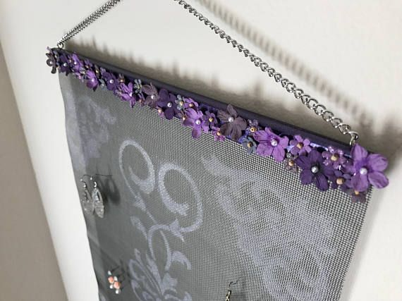 Purple Flower Swirl Wall Hanging Jewelry Organizer
