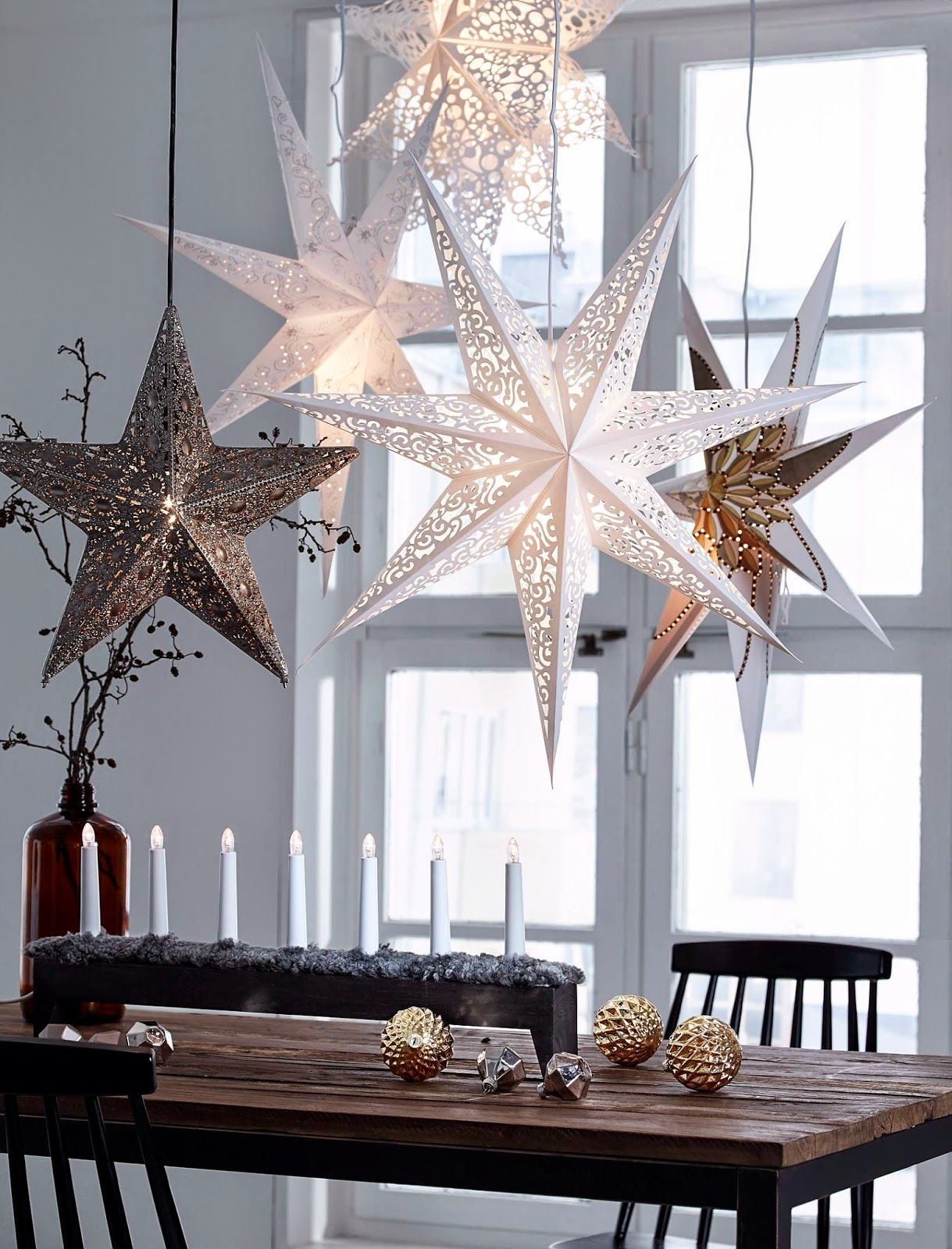 Repinned- going to do this with 3D snowflakes over our dining ...
