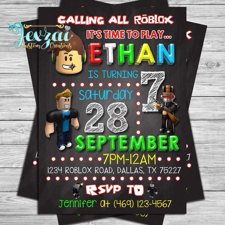 Roblox Birthday Invitation Roblox Chalkboard Invitation