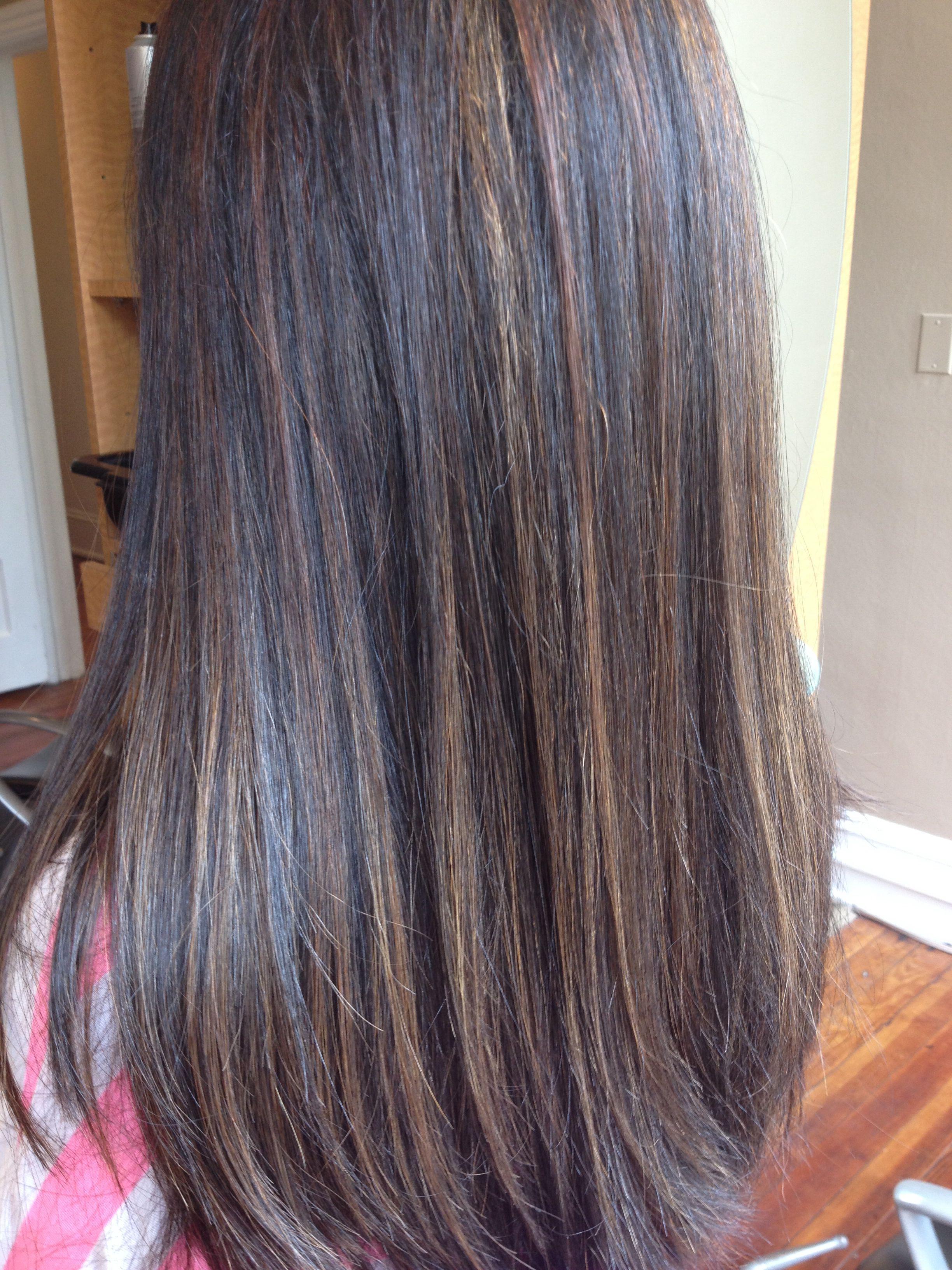 Chocolate Highlights On Black Hair Black Hair With Highlights Dark Hair With Lowlights Straight Hair Highlights