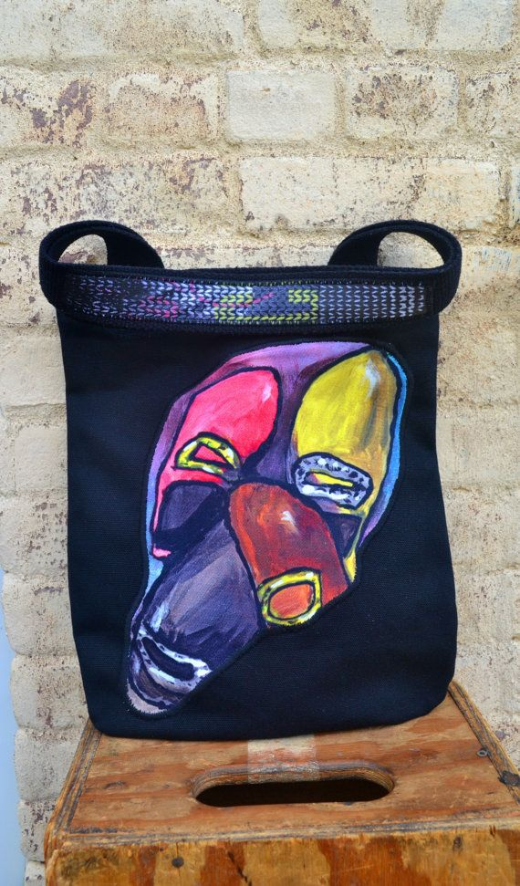 Canvas Tote Bag with leather art black canvas bag by Liquidshiva, $47.00