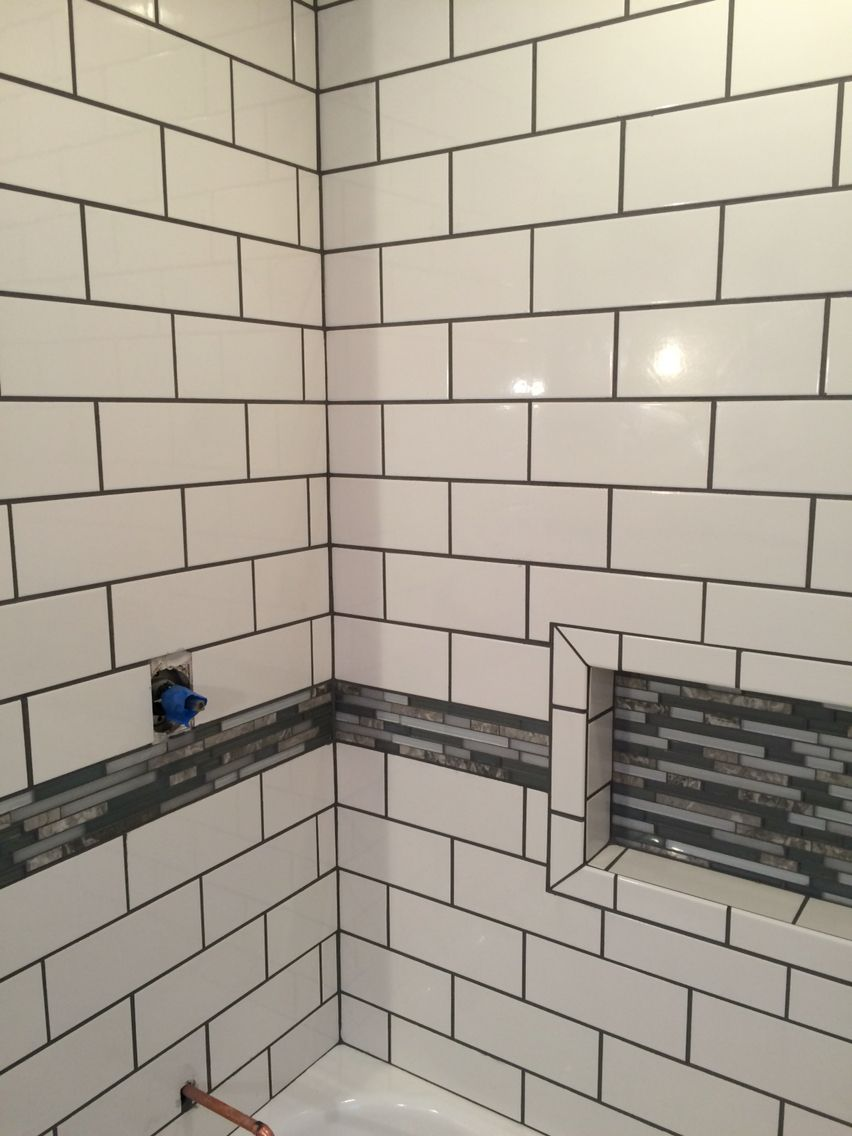 Snow White tile from Home Depot with pewter grout. | bathroom ...