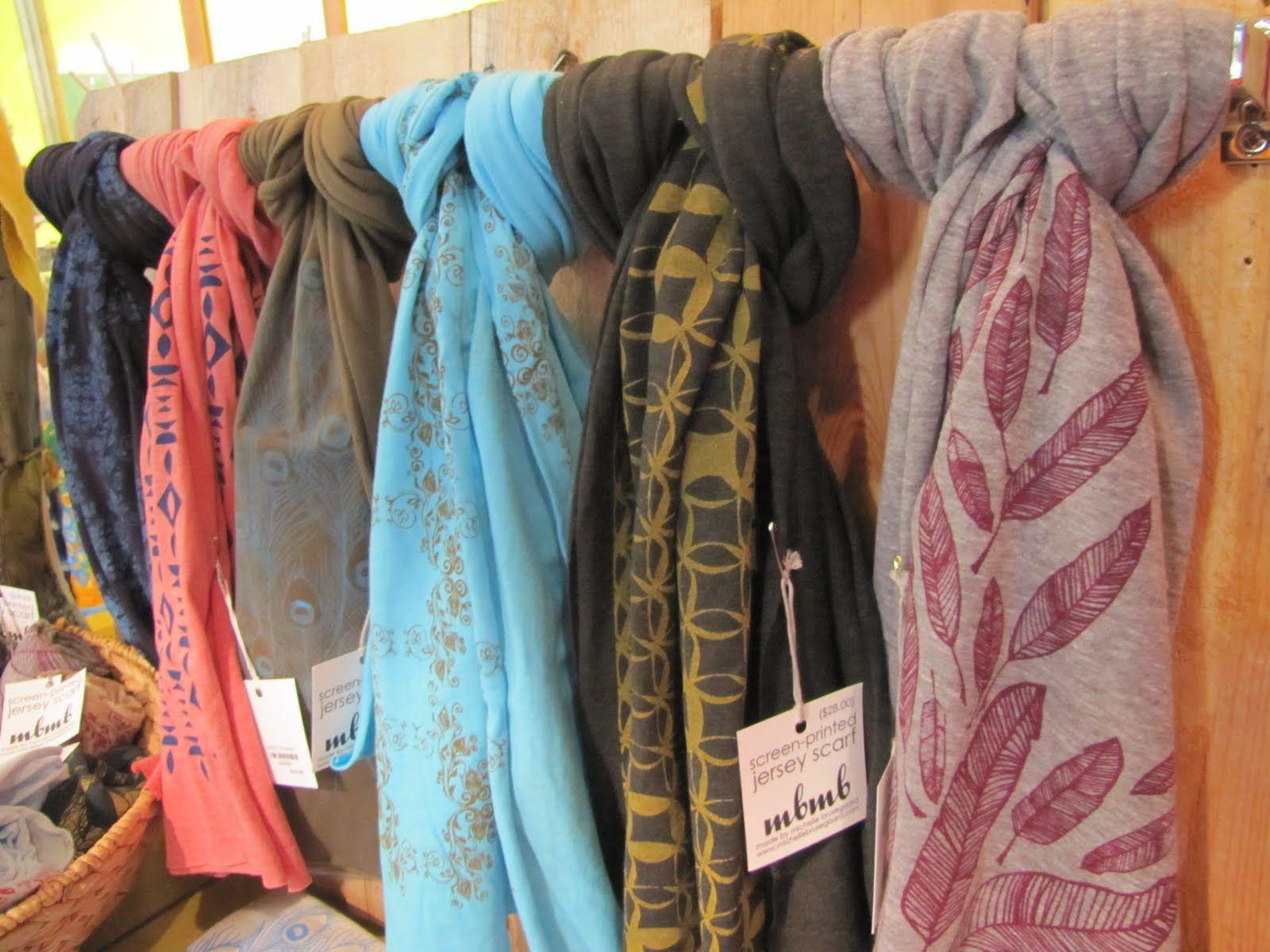 Screen printed jersey scarf display at Yellow Umbrella, a