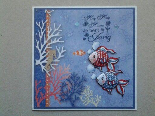 Zomers kaartje gemaakt met materialen van Joy, Yvonne en Craftemotions