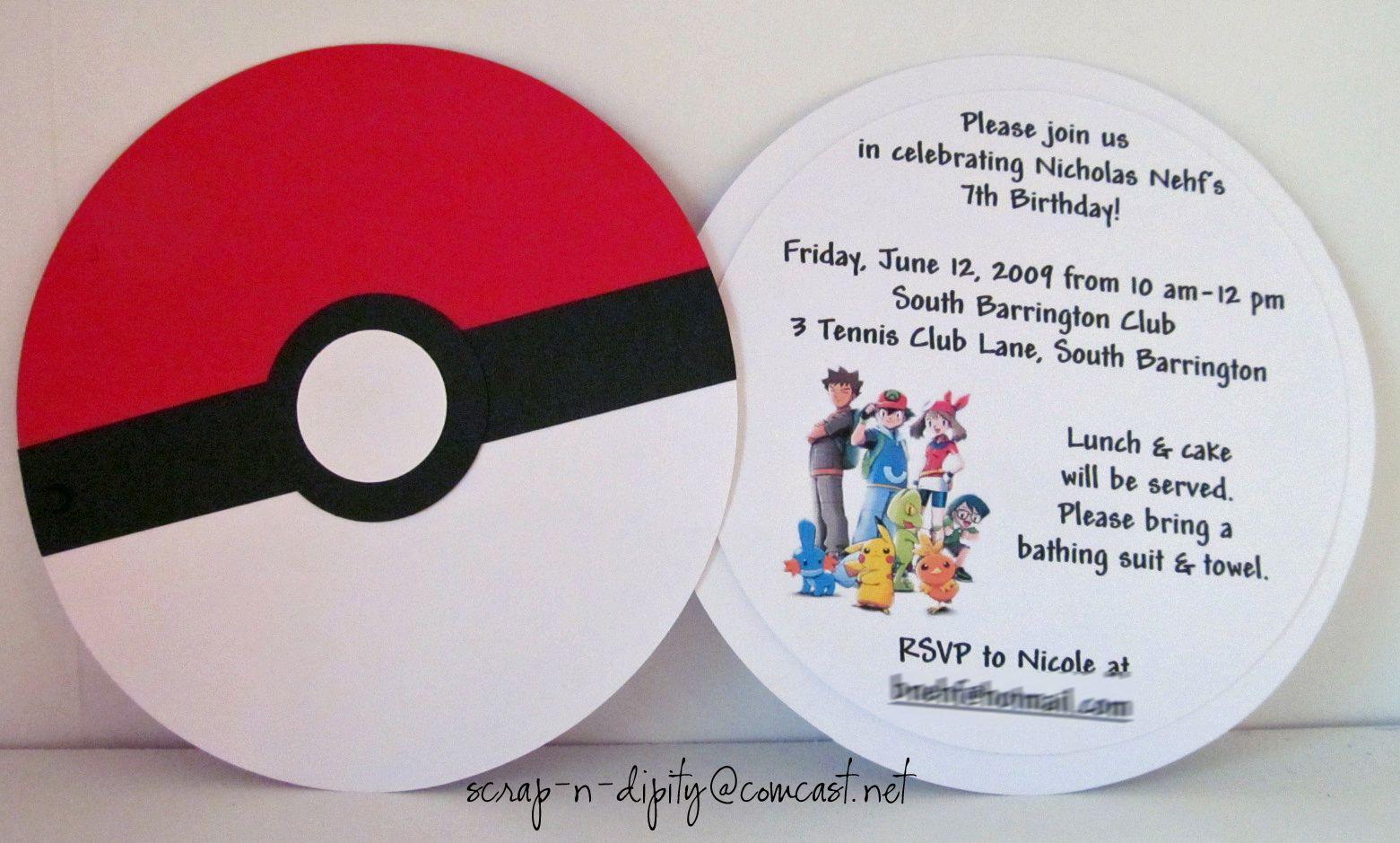 Pokeball Invitation, perfect for any Pokemon fan! | Party ...