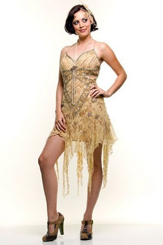 20S Style Clothing | Cheap Flapper Dress Gold Lace 20's Style Mini ...