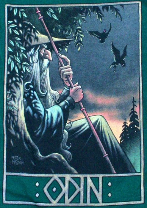 """Odin"" (Norse god) together with Huginn & Muninn (meaning: Thought & Memory) his two raven companions."