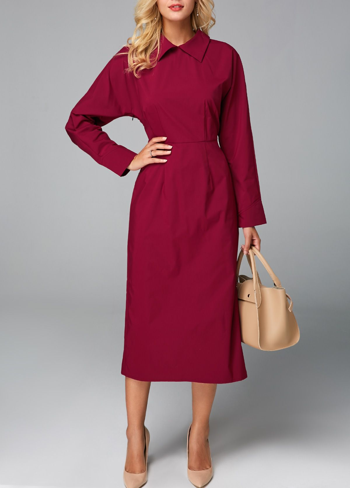 a8d0545595 Vestido a media pierna con cuello redondo en la espalda de vino rojo ...