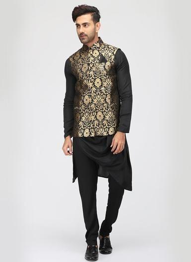b89c0530c6 Black Cowled Kurta Pyjama Set with Brocade Waistcoat - Lashkaraa
