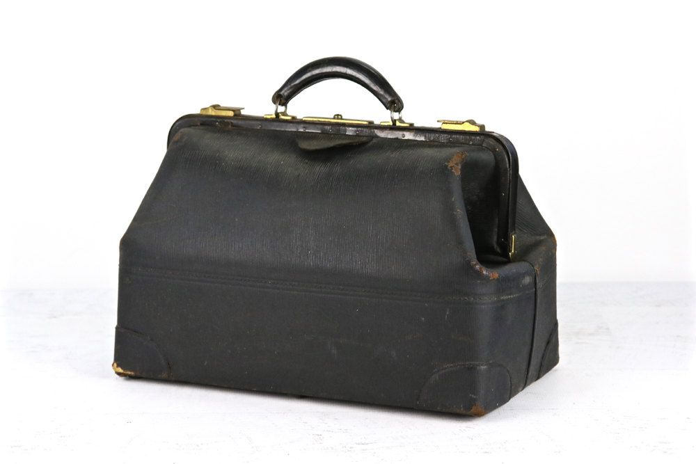 Vintage Doctor Bag Black Leather Apothecary Antique Old Medical By Huntandfound On Etsy