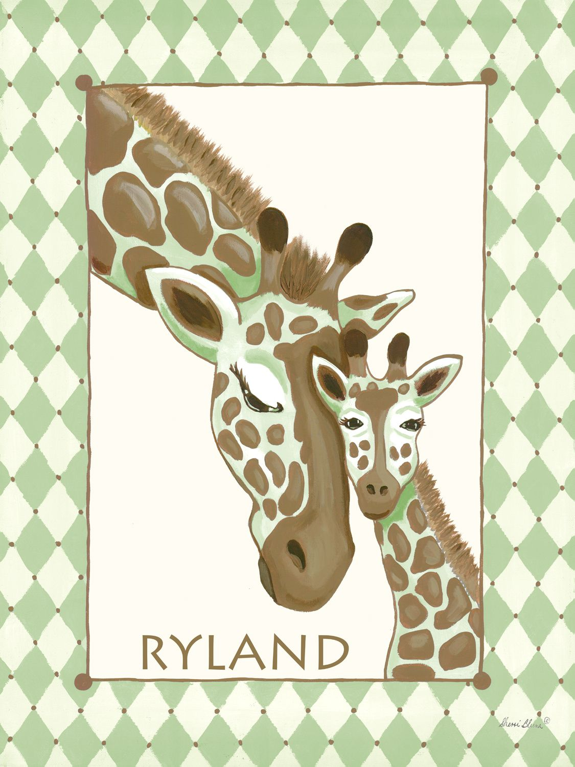 Giraffe Family in Green Canvas Wall Art by Sherri Blum, celebrity nursery designer of Jack and Jill Interiors.