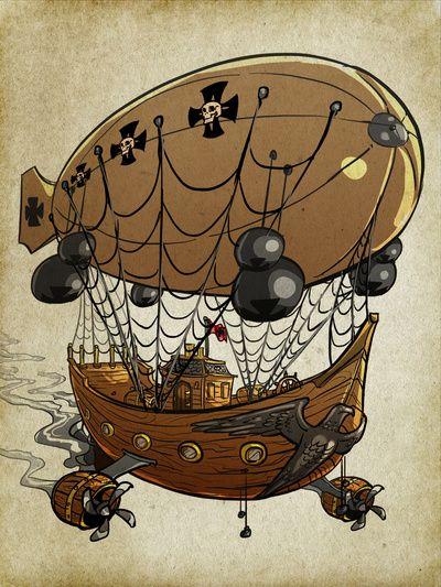 Steampunk Zeppelin Art Print