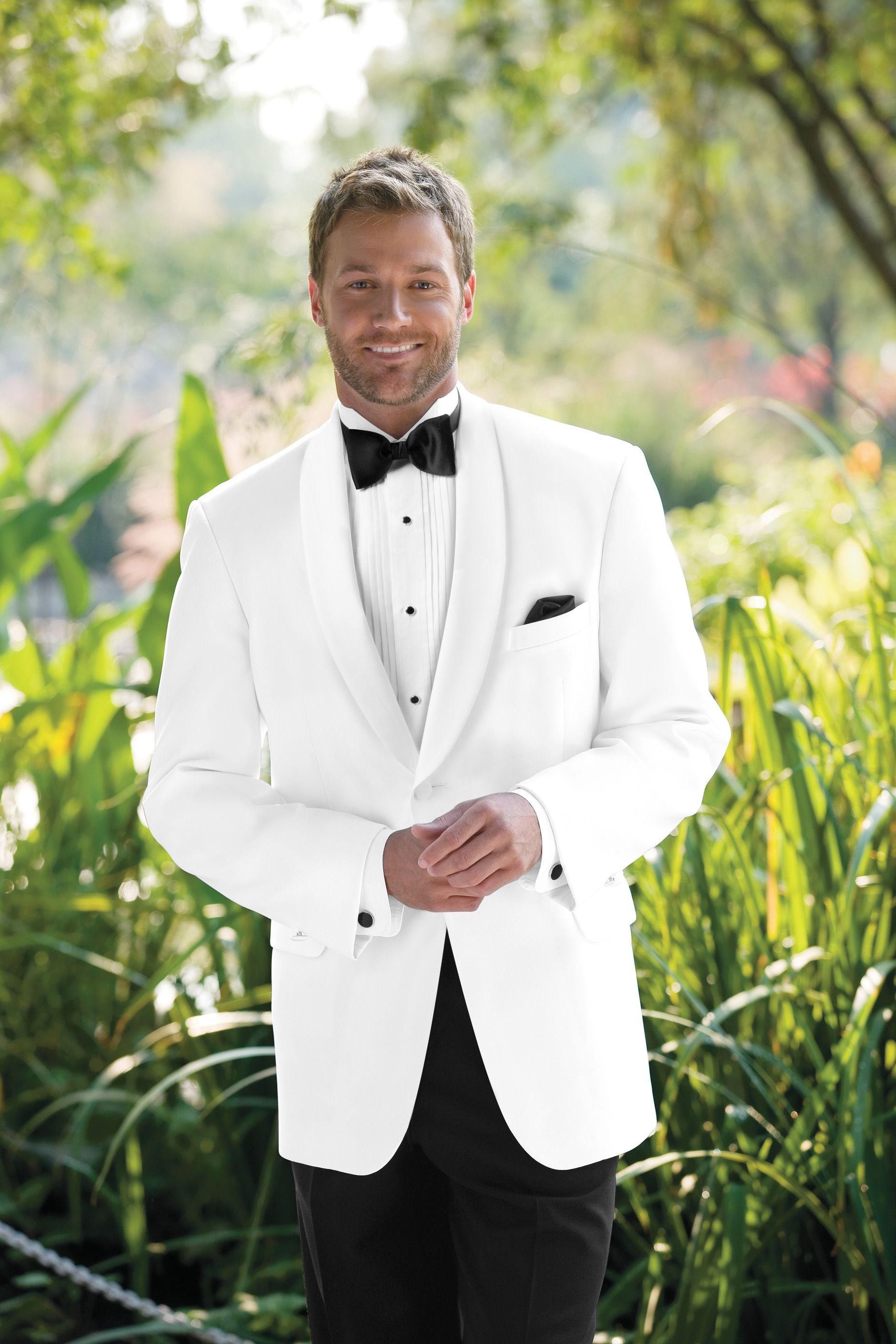 White Shawl Collar Dinner Jacket, and Black Tuxedo Pants