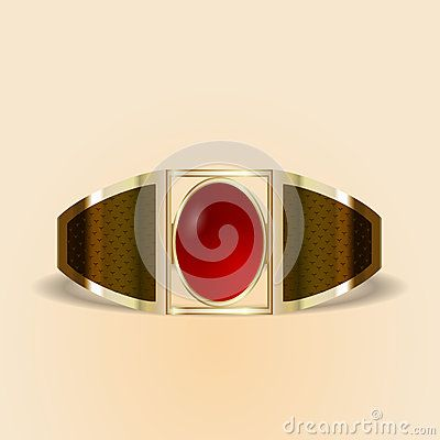 Vector gold ring with red stone