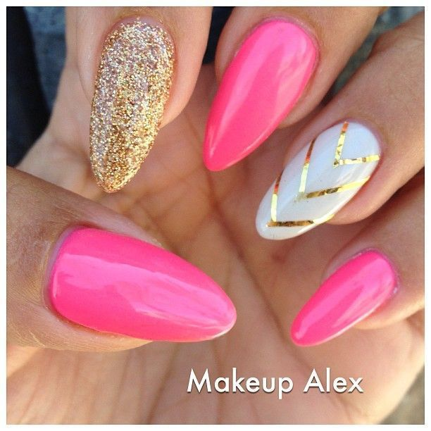 Pink white and gold nail art. More - Pink Stiletto Nail Designs To Adore Gold Nail Art, Stilettos And