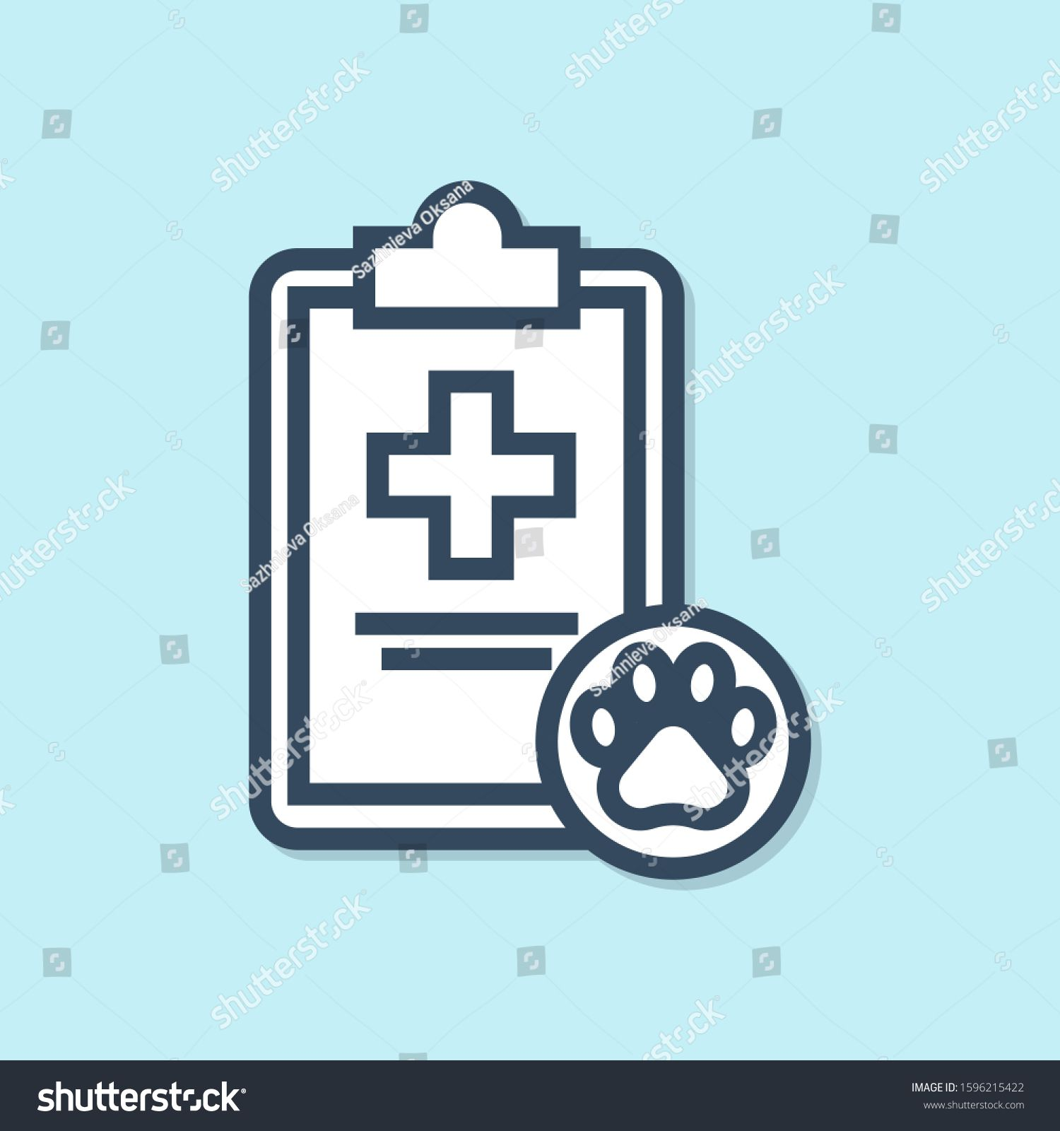 Blue Line Clipboard With Medical Clinical Record Pet Icon Isolated