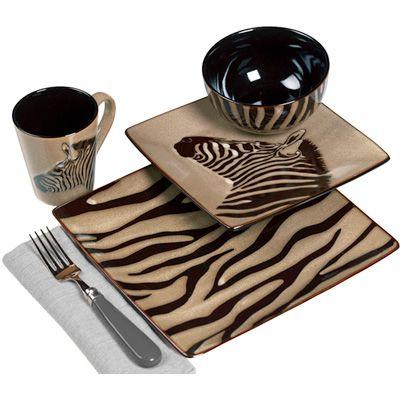 Square Dish Sets Dinnerware | Zebra 16-Piece Square Dinnerware Set | Meijer.com  sc 1 st  Pinterest & Square Dish Sets Dinnerware | Zebra 16-Piece Square Dinnerware Set ...