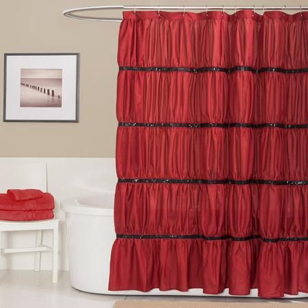 Home Red Shower Curtains Fabric Shower Curtains Ruffle Shower
