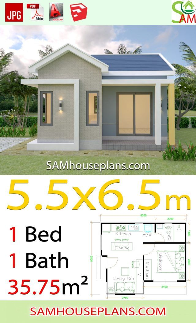 House Design Plans 5 5x6 5 With One Bedroom Gable Roof Sam House Plans In 2020 Small Garden House Plans Beautiful House Plans House Fence Design