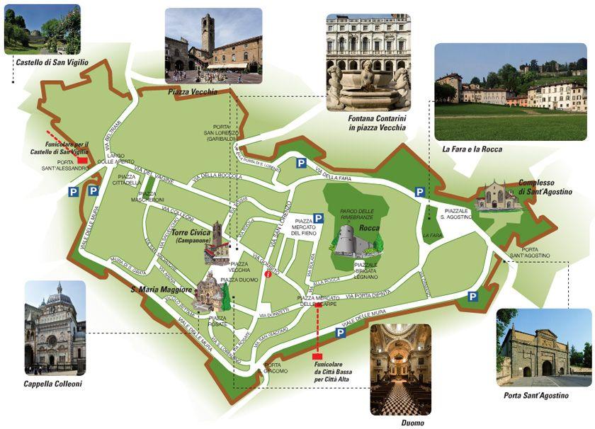 Bergamo Italia Mappa Citt alta Places I love Pinterest