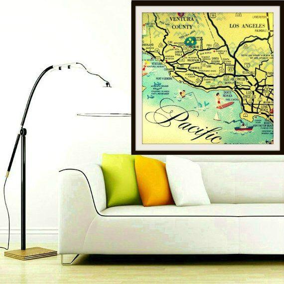 CALIFORNIA Map Art Print SANTA MONICA Hollywood Oxnard Beach House ...