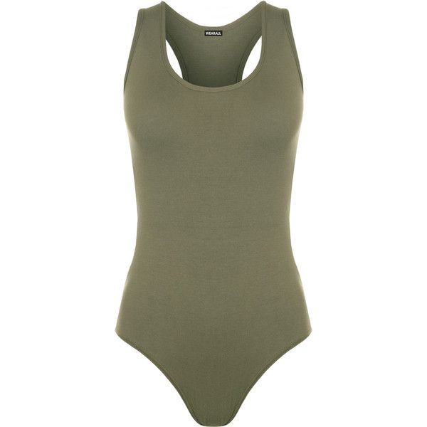Mckenzie Racer Back Bodysuit (€12) ❤ liked on Polyvore featuring intimates, shapewear, tops, bodysuit, bodies, outfits and khaki