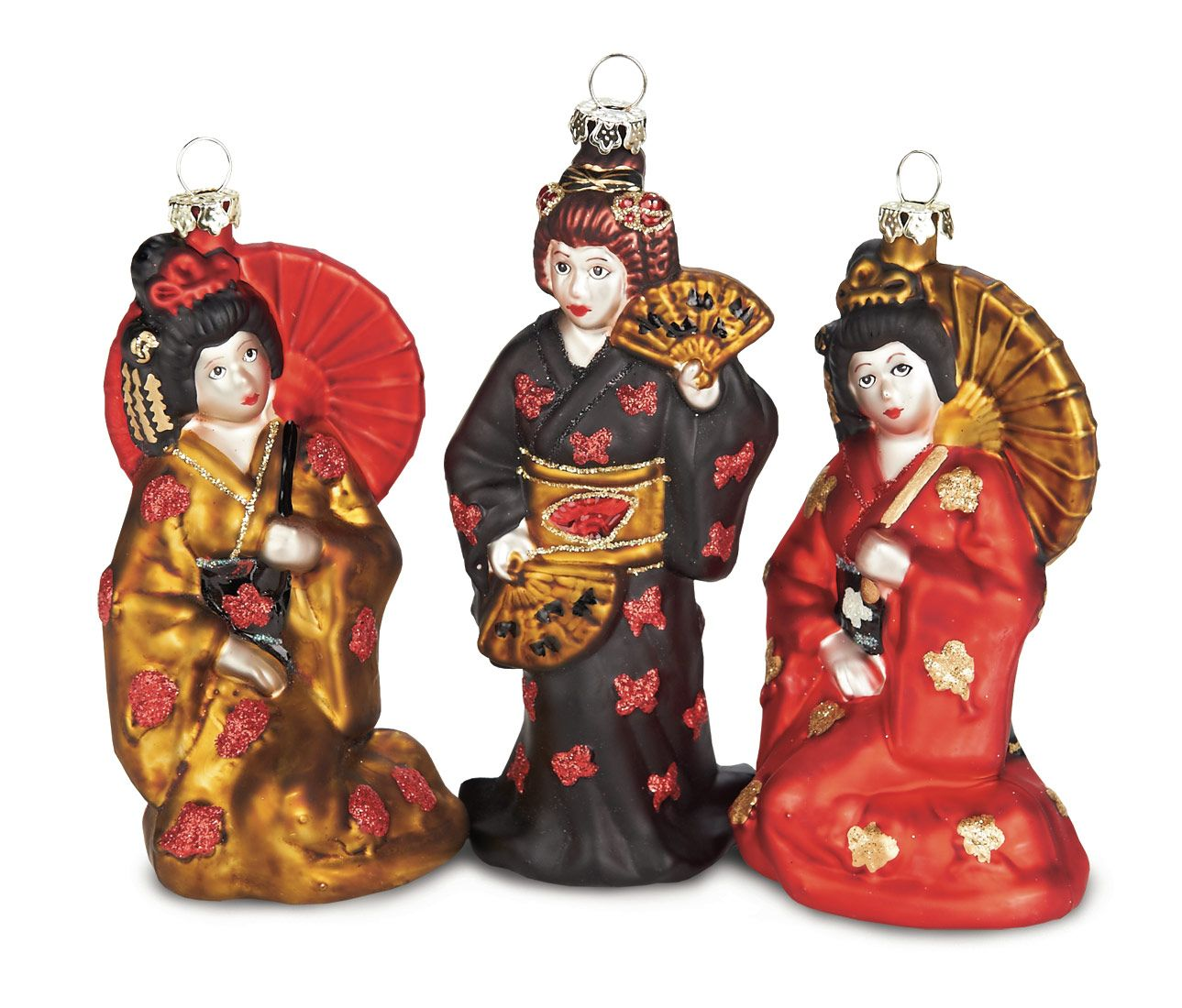 Trio Of Blown Glass Japanese Ladies Ornaments In Kimonos Dollmasters Ornaments Christmas Ornaments Japanese Ornaments