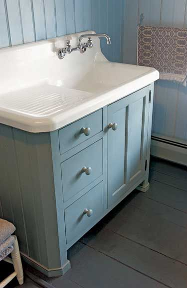 An Old Kitchen Sink Makes A Nice Bath Lavatory Atop Country Cabinet By Crown Point Cabinetry