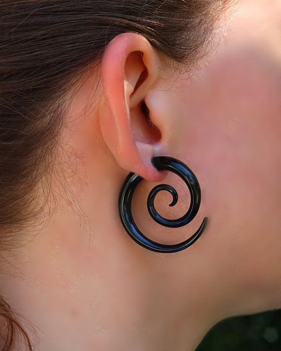 Large Double Spirals Organic Horn Earrings Fake Gauges Tribal