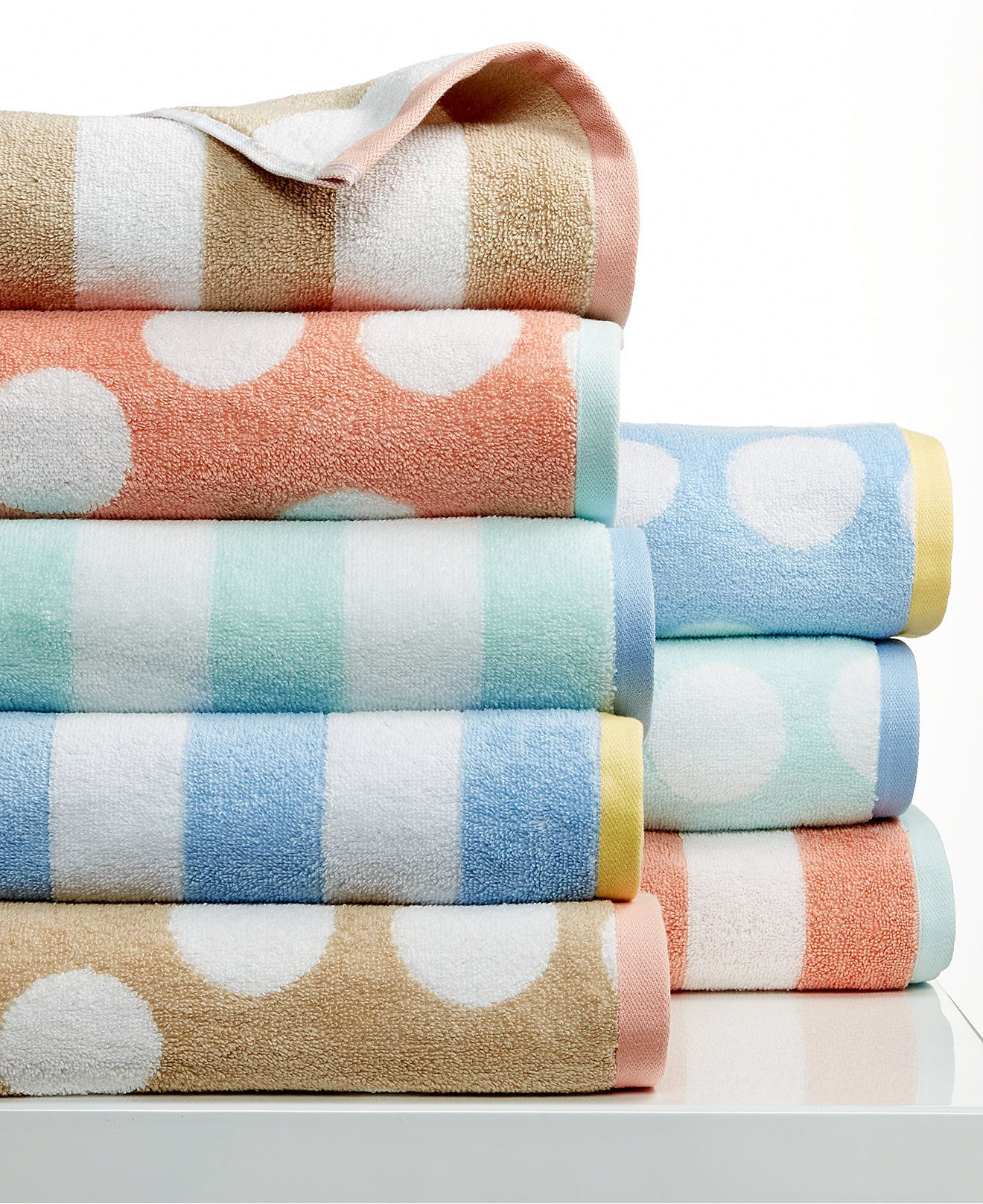 Martha Stewart Collection Stripe Jacquard And Dot Jacquard Towel