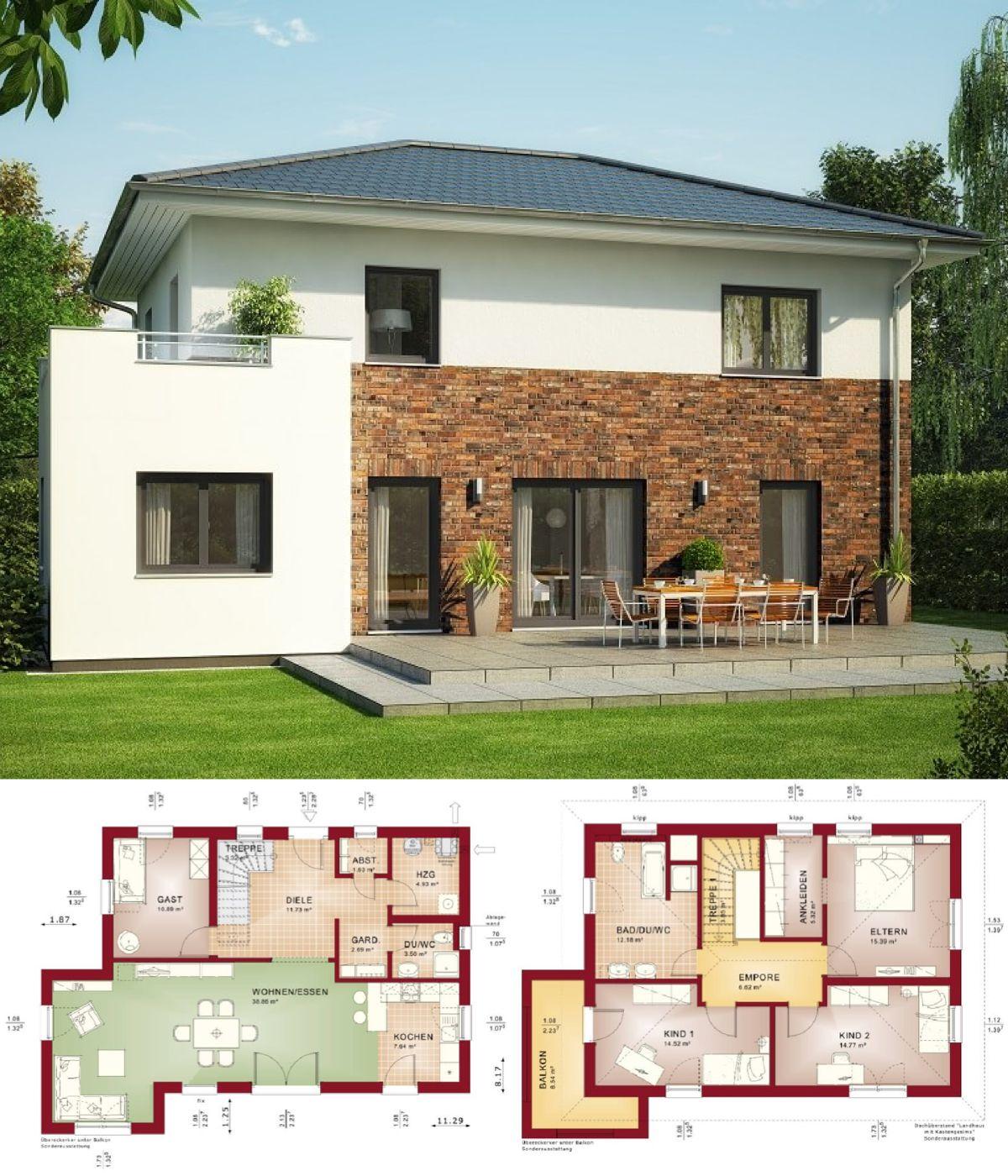 Stadtvilla modern mit klinker fassade erker anbau haus for Haus anbau modern
