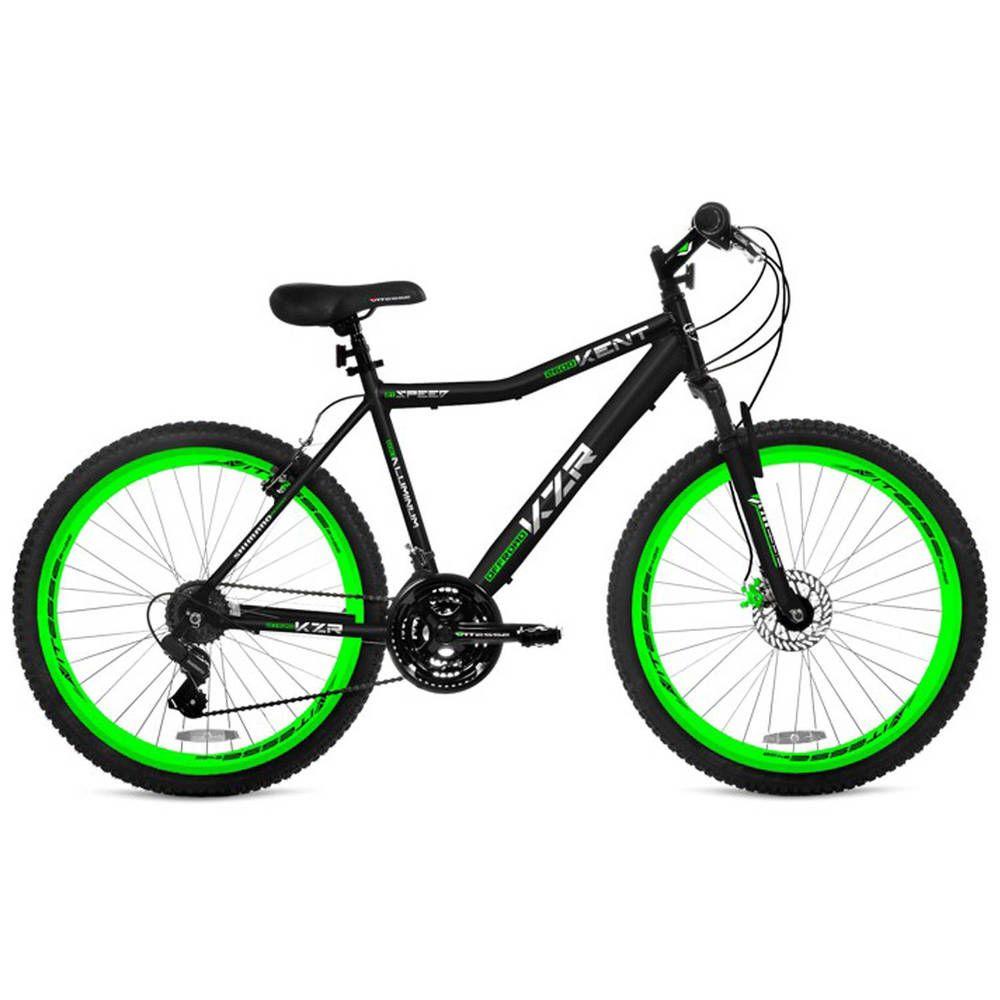 26 Men S Kent Hardtail Black Green Mountain Bike Aluminium 21 Speed Shimano Kent Black Mountain Bike Comfort Bike Bicycle