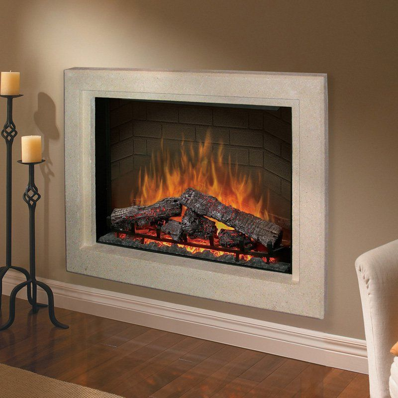 Dimplex 39 In Built In Flush Mount Picture Frame Cabinet Mantel Stone Look Fireplace