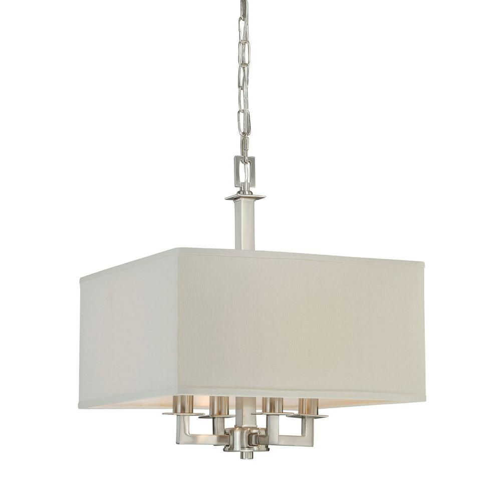 Hampton Bay Menlo Park 4 Light Brushed Nickel Pendant Menlo Park Brushed Nickel And Lights
