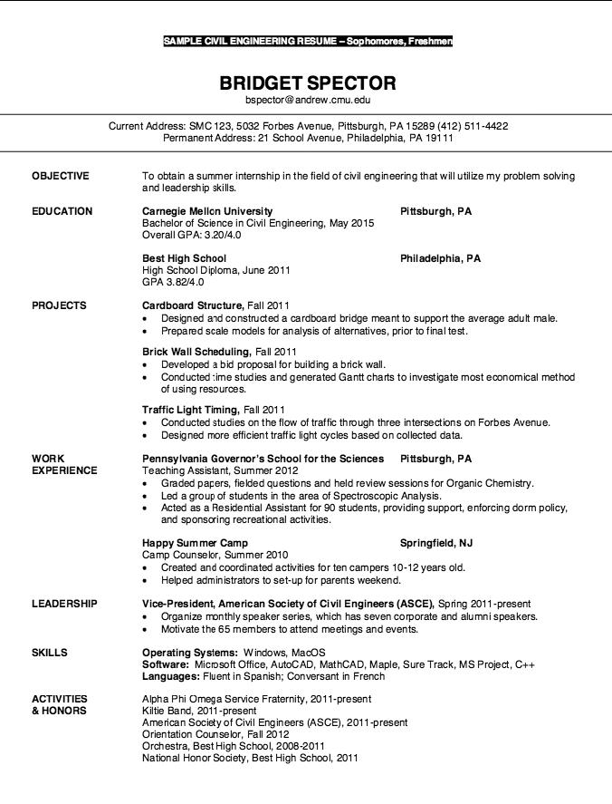 Resume For Freshmen Civil Engineering Free Resume Sample Civil Engineer Resume Resume Examples Resume