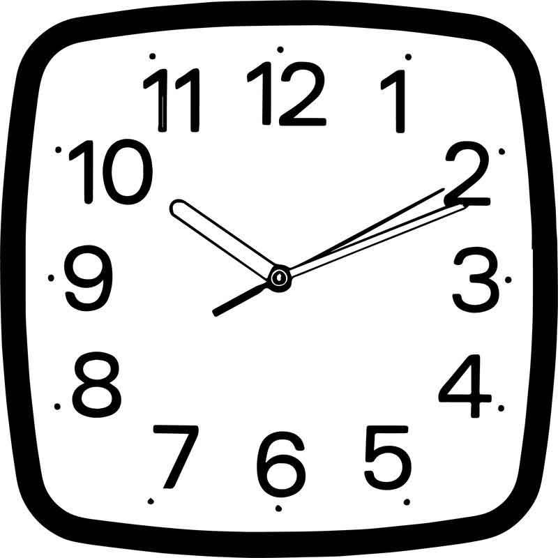 Square Wall Clocks Coloring Page