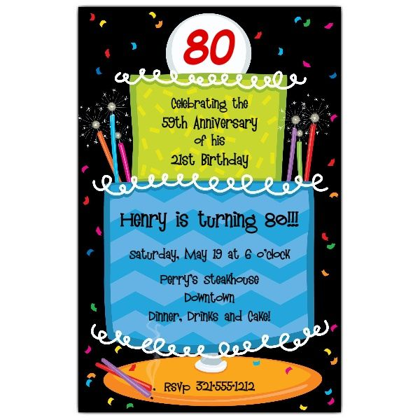 Cool 80 Years Old Birthday Invitations