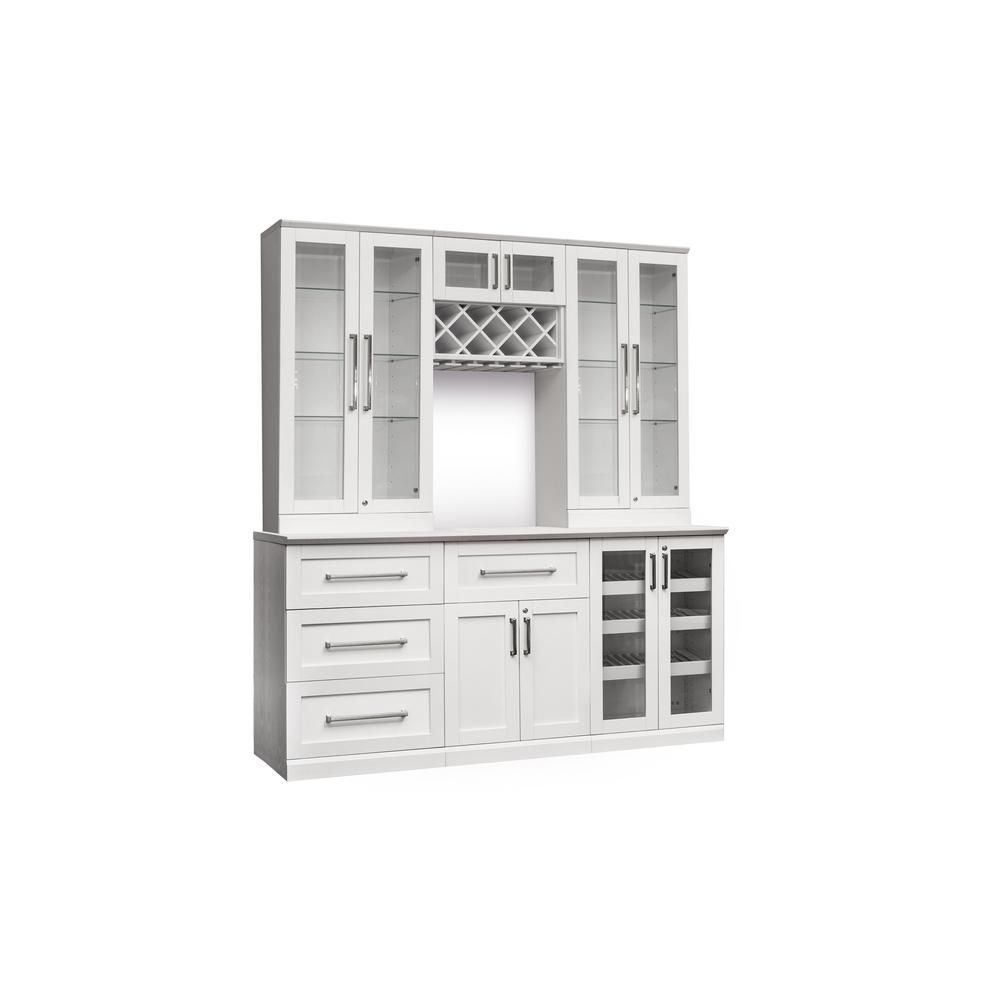 Newage Products Home Bar 7 Piece White Shaker Style Bar Cabinet In