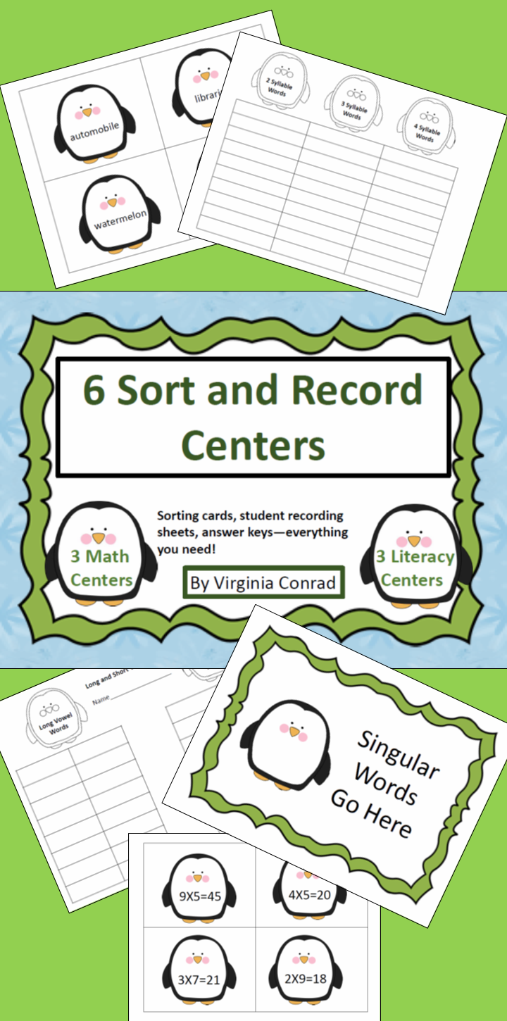 Penguin Math and Literacy Centers | Multiplication facts, Syllable ...