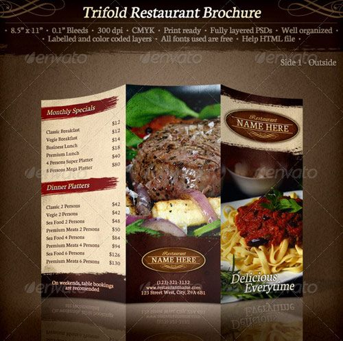 25 High Quality Restaurant Menu Design Templates Print templates - coffee shop brochure template