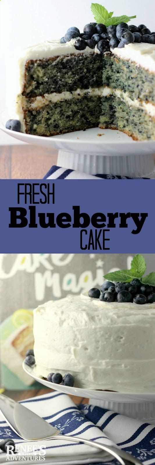 Fresh Blueberry Cake | Renees Kitchen Adventures - fresh blueberries in a moist…
