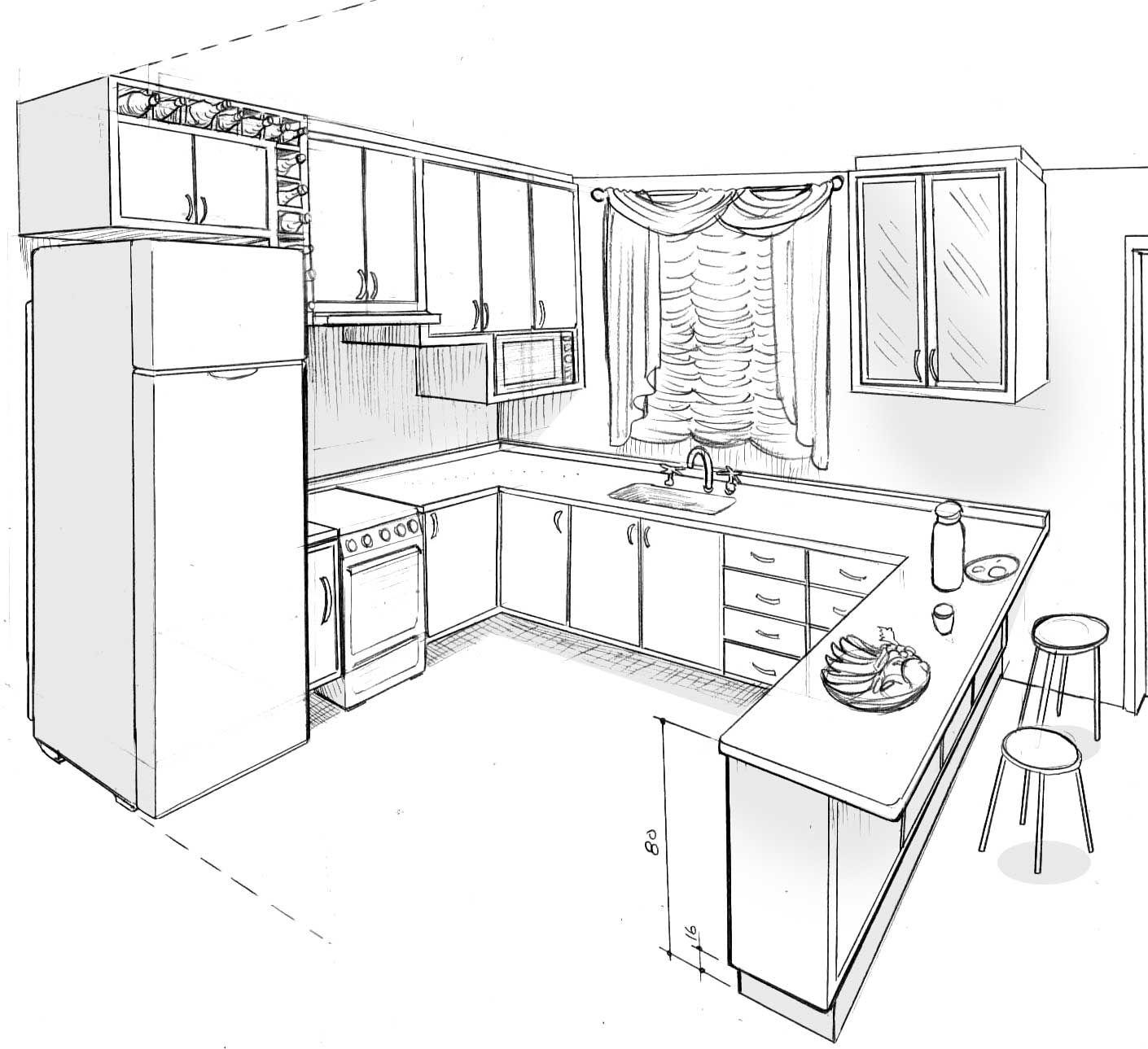 Kitchen Layout Sketch: DESENHOS DE AMBIENTES EM PERSPECTIVA
