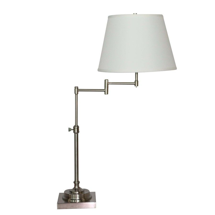 Allen Roth Hillam 31 In Brushed Nickel Swing Arm Table Lamp With