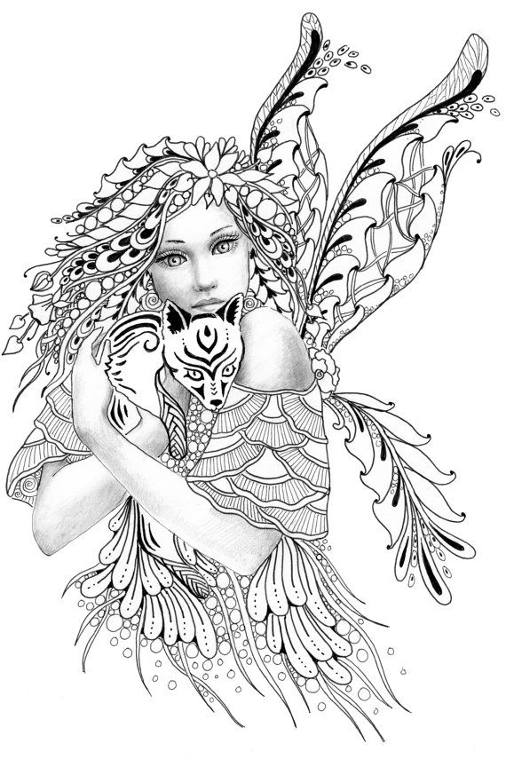 Foxie Fairy Tangles Printable Coloring Sheets By Norma J Etsy In 2020 Fairy Coloring Pages Fairy Coloring Fairy Coloring Book