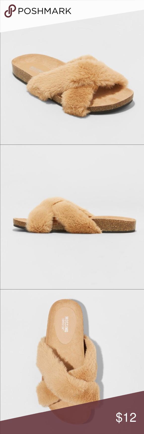 Mossimo Supply Co Women/'s Bella Tan Faux Fur Crossband Footbed Sandal
