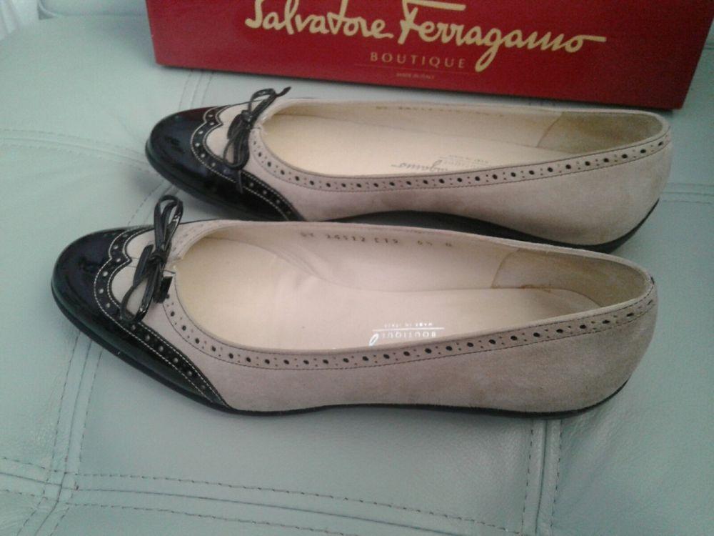 34aec99a98ea Nero Suede Kid Nero Patent calf Ladislav Shoes Size 6 1 2B Salvatore  Ferragamo