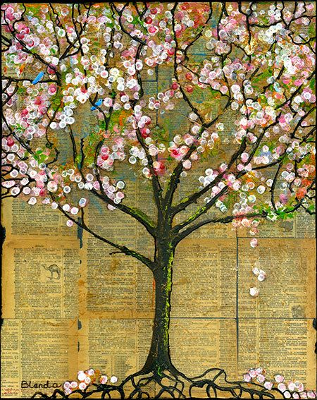 Happy Little Bluebirds In Pink Blossoms Tree Nature Art Print For Home Decor Farmstyle Wall Decor Tree Art Art Pictures Painting
