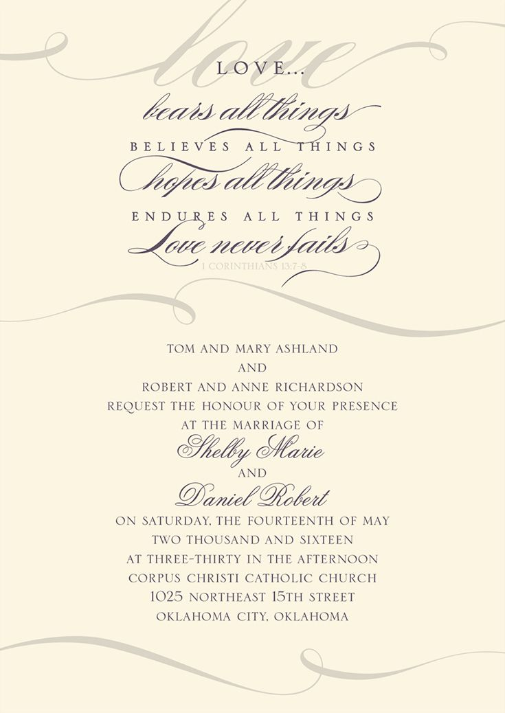 Wedding invitation featuring 1 Corinthians 13. #loveneverfails #loveyourinvites