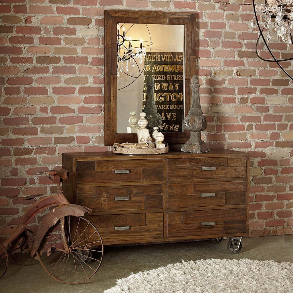 Industrial loft dresser wall mirrors industrial and furniture